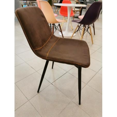 Outlet Toro szék, fekete fém lábakkal, barna szövettel