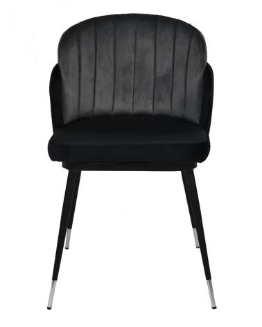 Szék KH Marcel szék, fekete-szürke velúr anyaggal, fém lábakkal