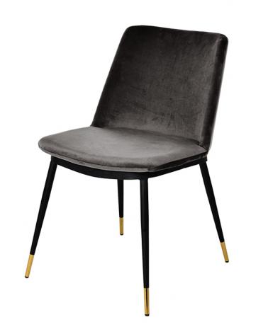 Szék KH Diego szék, sötétszürke velúr anyaggal, fém lábakkal