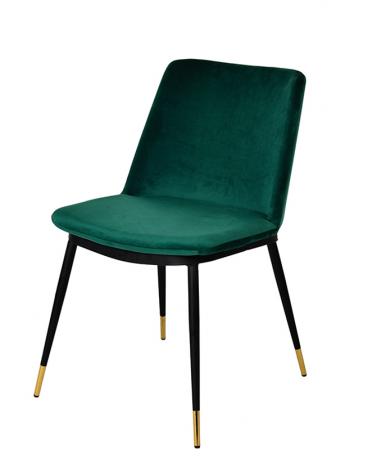 Szék KH Diego szék, zöld velúr anyaggal, fém lábakkal