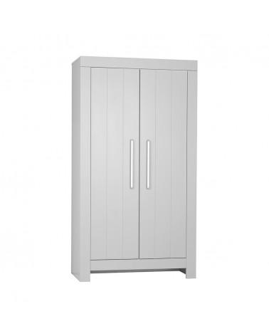 Ruhásszekrény, Gardrob PI Calmo 2 ajtós MDF szekrény gyerekbútor szürke és fehér színben