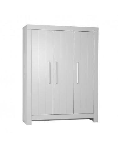 Ruhásszekrény, Gardrob PI Calmo 3 ajtós MDF szekrény gyerekbútor szürke és fehér színben
