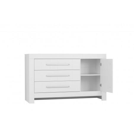 Komód PI Calmo nagy MDF komód gyerekbútor szürke és fehér színben