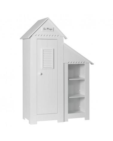 Ruhásszekrény, Gardrob PI Marsylia 1 ajtós szekrény könyvespolccal gyerekbútor fehér színben