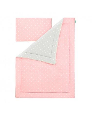Ágynemű szettek LC ágynemű szett 100 x 135 cm rózsaszín - szürke pöttyös kollekció