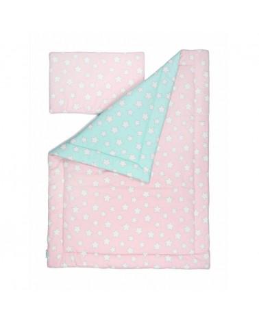 Ágynemű szettek LC ágynemű szett 100 x 135 cm menta - rózsaszín csillagos kollekció