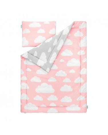 Ágynemű szettek LC ágynemű szett 100 x 135 cm rózsaszín - szürke felhős kollekció