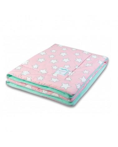 Takarók LC gyapjú takaró 80x100 cm rózsaszín - menta csillagos kollekció