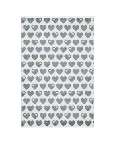 Gyerekszoba Szőnyegek LE Hearts - ezüstszürke - fehér színben - minőségi gyerekszőnyeg