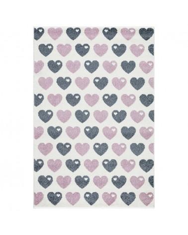 Gyerekszoba Szőnyegek LE Hearts - ezüstszürke - rózsaszín - fehér színben - minőségi gyerekszőnyeg