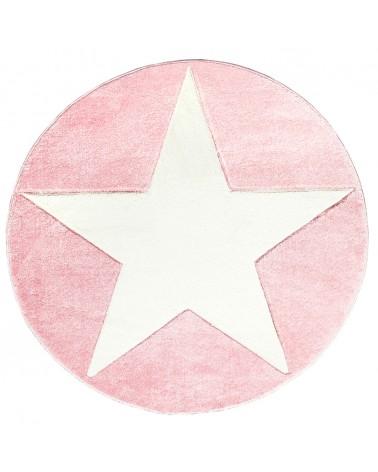 Gyerekszoba Szőnyegek LE Csillagos Kör Szőnyeg Rózsaszín - Fehér Színben - Minőségi Gyerekszőnyeg