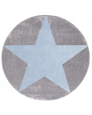 Gyerekszoba Szőnyegek LE Csillagos Kör Szőnyeg Ezüsttszürke - Kék Színben - Minőségi Gyerekszőnyeg