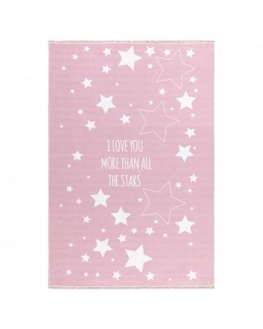 Mosható szőnyegek LE Csillagos - Mosható - Rózsaszín Színben - Minőségi Gyerekszőnyeg