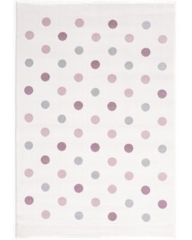 Szőnyegek LE Confetti, kérm/rózsaszín - ezüst - szürke pöttyös gyerekszőnyeg