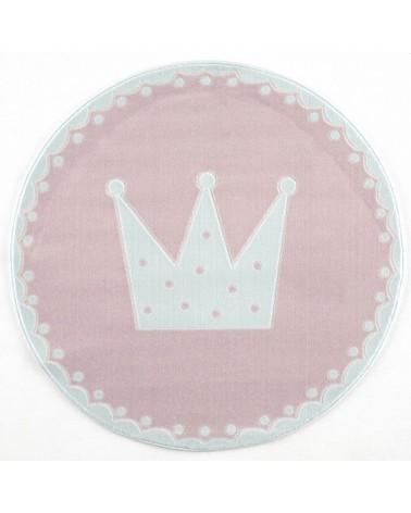 Gyerekszoba Szőnyegek LE Korona, krém - pasztell rózsaszín kör gyerekszőnyeg