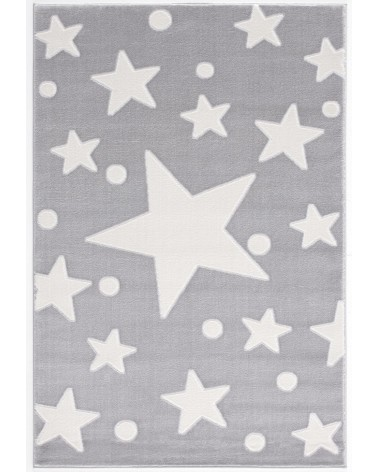 Gyerekszoba Szőnyegek LE Estrella csillagos, ezüstszürke - fehér színű gyerekszőnyeg