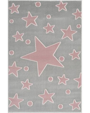 Gyerekszoba Szőnyegek LE Estrella csillagos, ezüstszürke - rózsaszín színű gyerekszőnyeg