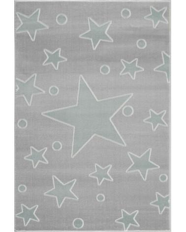 Gyerekszoba Szőnyegek LE Estrella csillagos, ezüstszürke - menta színű gyerekszőnyeg