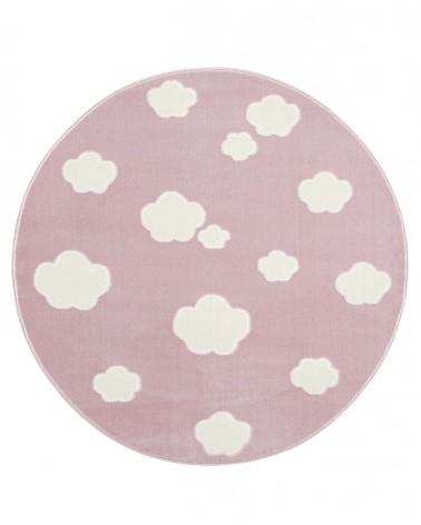 Gyerekszoba Szőnyegek LE Skycloud felhős, rózsaszín - fehér színű kör gyerekszőnyeg