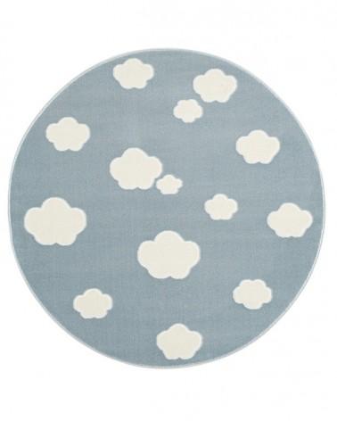 Gyerekszoba Szőnyegek LE Skycloud felhős, kék - fehér színű kör gyerekszőnyeg