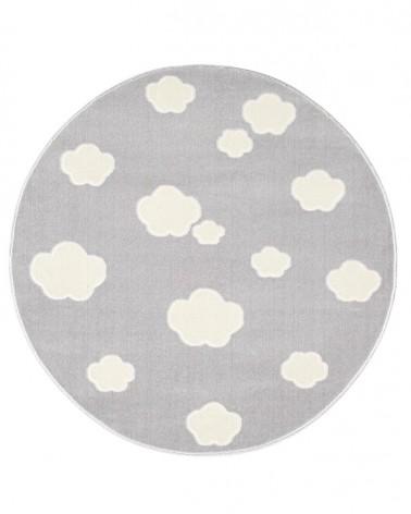 Gyerekszoba Szőnyegek LE Skycloud felhős, ezüstszürke - fehér színű kör gyerekszőnyeg