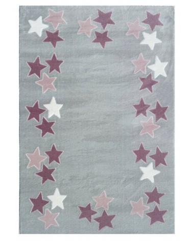 Gyerekszoba Szőnyegek LE Spring csillagos ezüstszürke - rózsaszín színű gyerekszőnyeg
