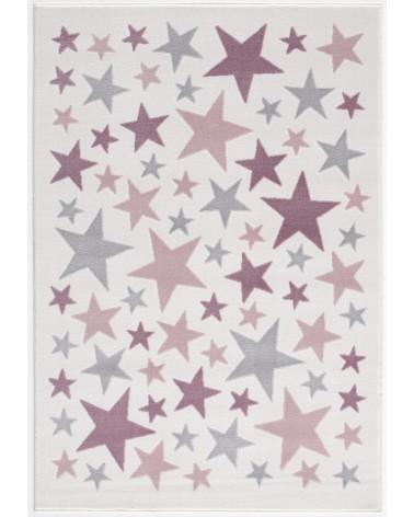 Gyerekszoba Szőnyegek LE Stella csillagos, krém - ezüstszürke - rózsaszín színű gyerekszőnyeg