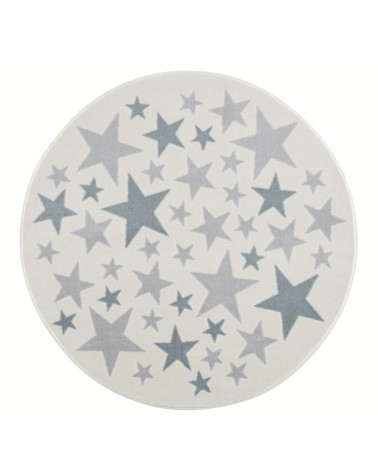 Gyerekszoba Szőnyegek LE Stella csillagos, krém - ezüstszürke - kék színű kör gyerekszőnyeg