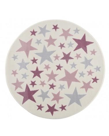 Gyerekszoba Szőnyegek LE Stella csillagos, krém - ezüstszürke - rózsaszín színű kör gyerekszőnyeg