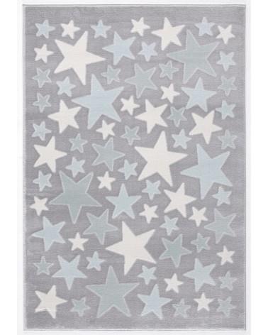 Gyerekszoba Szőnyegek LE Stella csillagos, ezüstszürke - kék színű gyerekszőnyeg
