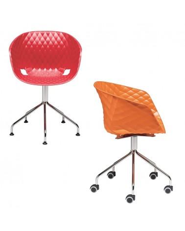 Műanyag design szék MO Uni-Ka IV. Fix vagy görgős forgatható fémvázas tárgyaló szék