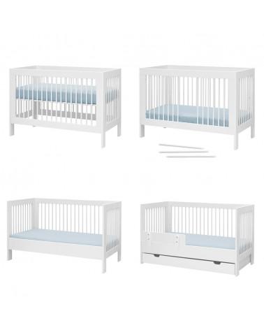 Gyerekbútorok PI Basic MDF átalakítható kiságy 140 x 70 cm-es gyerekbútor fehér színben