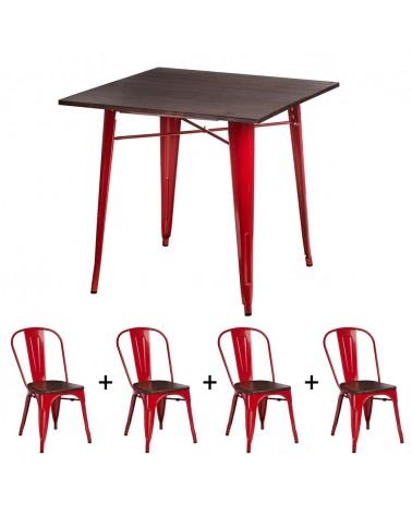 KD Replica fém étkezőszett piros színben fa ülőlappal